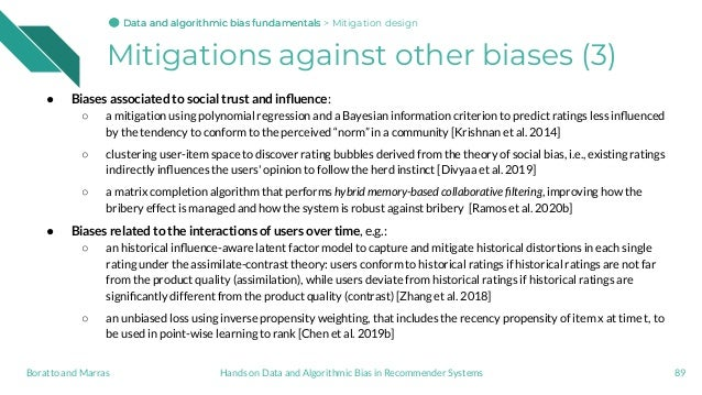 Mitigations against other biases (3) ● Biases associated to social trust and influence: ○ a mitigation using polynomial reg...