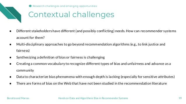 Contextual challenges 99Hands on Data and Algorithmic Bias in Recommender SystemsBoratto and Marras Research challenges an...