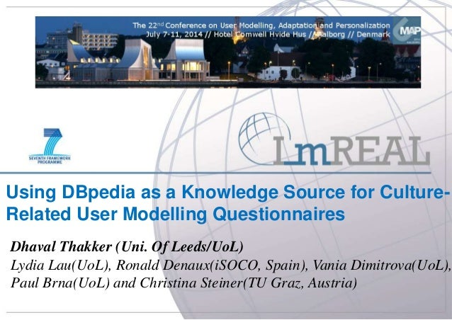 UMAP – 08 July 2014 University of Leeds Using DBpedia as a Knowledge Source for Culture- Related User Modelling Questionna...