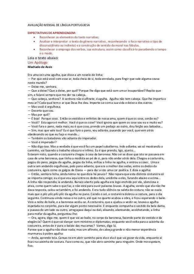 AVALIAÇÃO MENSAL DE LÍNGUA PORTUGUESA EXPECTATIVAS DE APRENDIZAGEM:  Reconhecer os elementos do texto narrativo;  Analis...