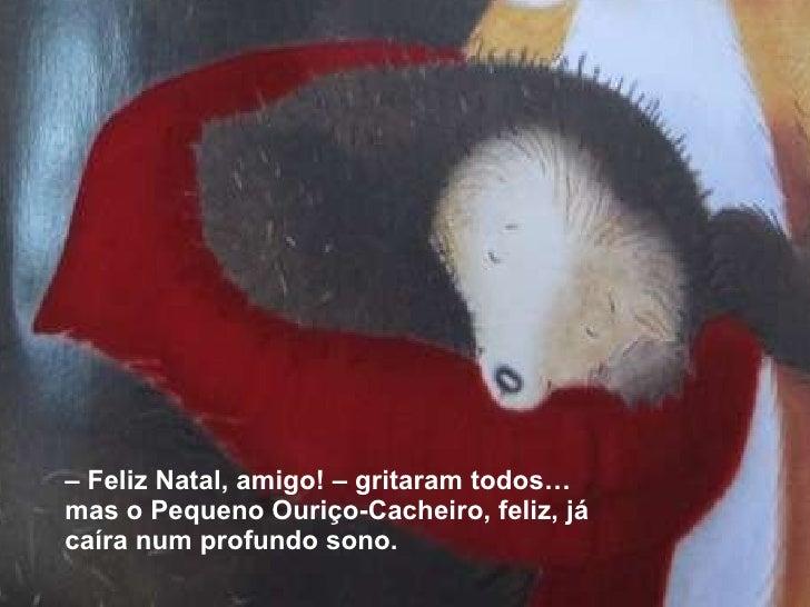 <ul><li>–  Feliz Natal, amigo! – gritaram todos… mas o Pequeno Ouriço-Cacheiro, feliz, já caíra num profundo sono. </li></ul>