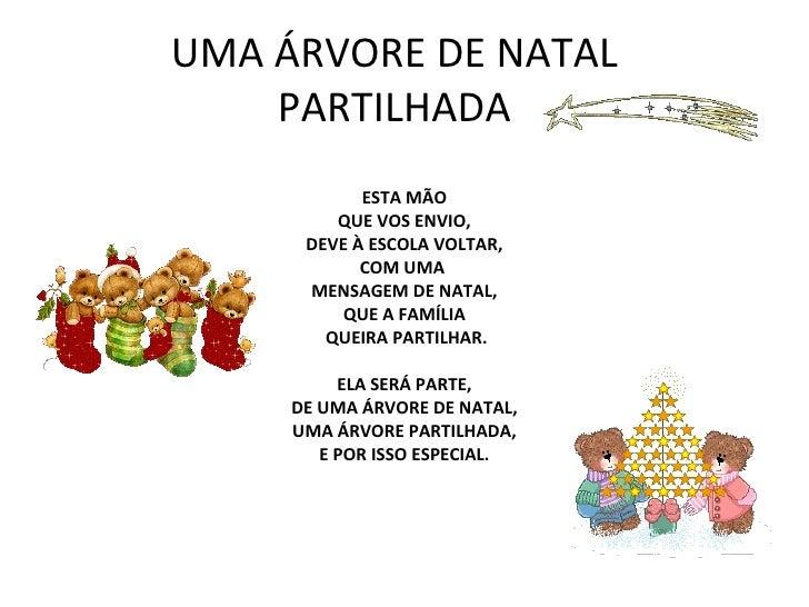 UMA ÁRVORE DE NATAL PARTILHADA ESTA MÃO QUE VOS ENVIO, DEVE À ESCOLA VOLTAR, COM UMA  MENSAGEM DE NATAL, QUE A FAMÍLIA QUE...