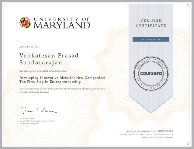 U Maryland Developing Innovative Ideas Entrepreneurship Certificate 2