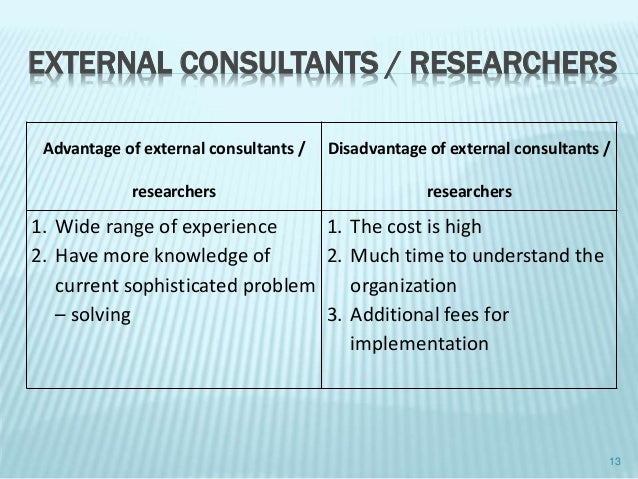 advantages and disadvantages of internal research