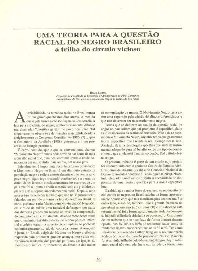 Uma teoria para a questão racial do negro brasileiro   a trilha do circulo vicioso- helio santos