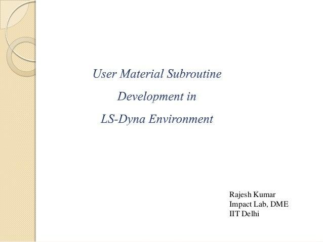Rajesh Kumar Impact Lab, DME IIT Delhi