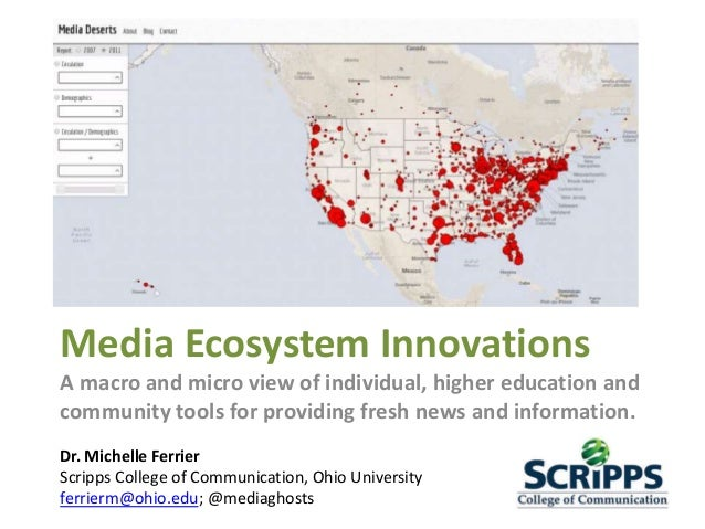 Media Ecosystem Innovations A macro and micro view of individual, higher education and community tools for providing fresh...