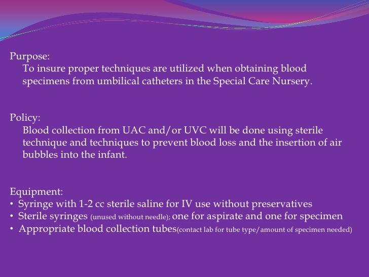 Umbilical Catheter Blood Specimen Collection