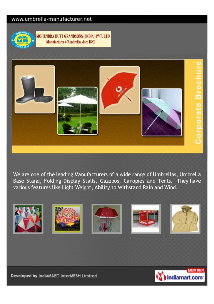 We are one of the leading Manufacturers of a wide range of Umbrellas, UmbrellaBase Stand, Folding Display Stalls, Gazebos,...