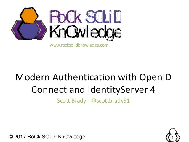 © 2017 RoCk SOLid KnOwledge 1 RoCk KnOwledge SOLiD www.rocksolidknowledge.com Modern Authentication with OpenID Connect an...