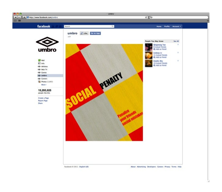 Umbro facebook app