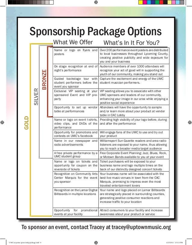 umc corporate sponsorship package. Black Bedroom Furniture Sets. Home Design Ideas