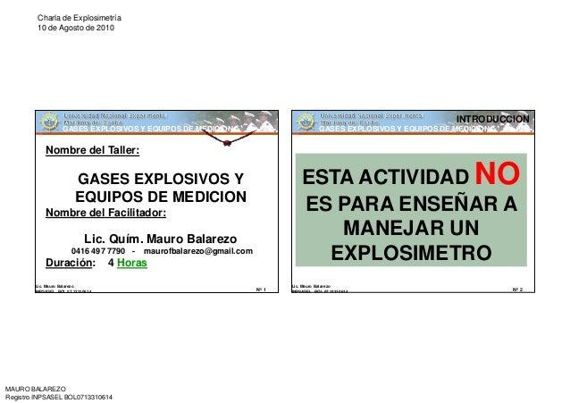 Charla de Explosimetría         10 de Agosto de 2010                                                                      ...