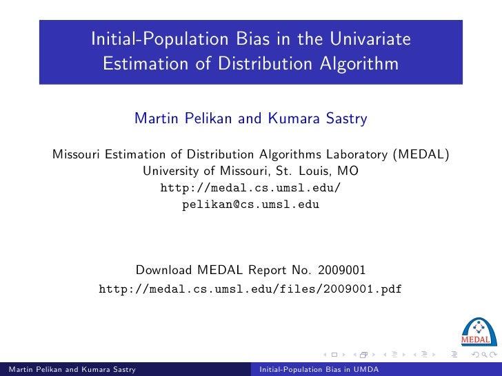 Initial-Population Bias in the Univariate                       Estimation of Distribution Algorithm                      ...