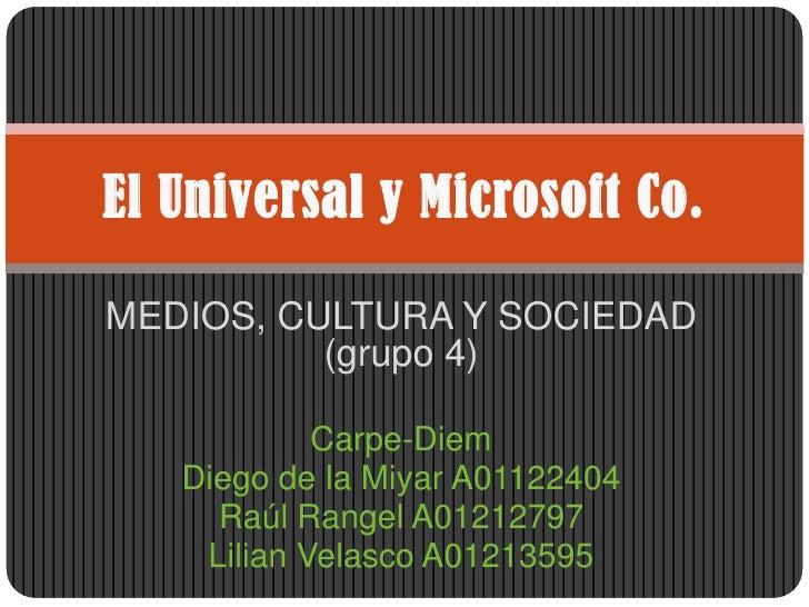 MEDIOS, CULTURA Y SOCIEDAD (grupo 4)<br />Carpe-Diem<br />Diego de la Miyar A01122404<br />Raúl Rangel A01212797<br />Lili...