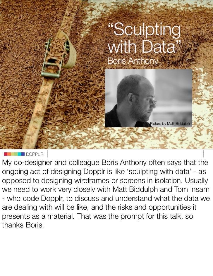 """Sculpting                                  with Data""                                  Boris Anthony                     ..."
