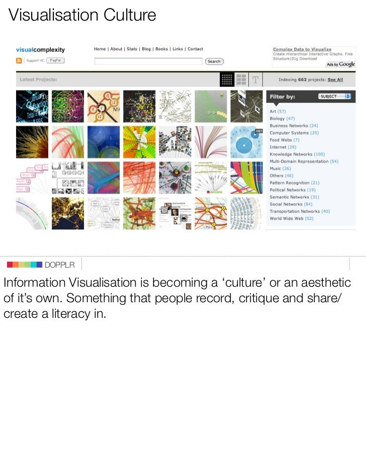 Visualisation Culture            DOPPLR  Information Visualisation is becoming a 'culture' or an aesthetic of it's own. So...