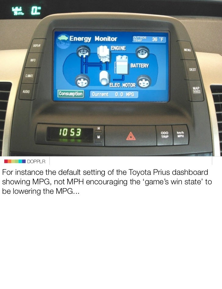 DOPPLR  For instance the default setting of the Toyota Prius dashboard showing MPG, not MPH encouraging the 'game's win st...