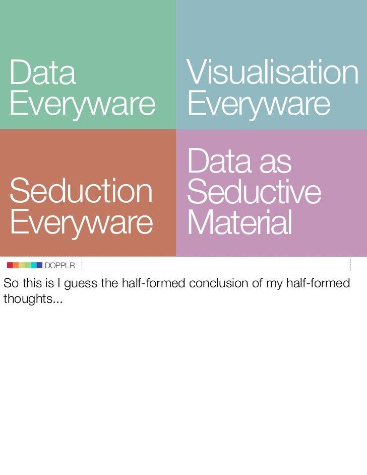 Visualisation Data Everyware Everyware           Data as Seduction Seductive Everyware Material        DOPPLR  So this is ...