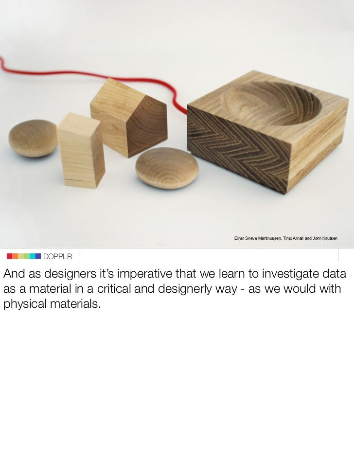 Einar Sneve Martinussen, Timo Arnall and Jørn Knutsen           DOPPLR  And as designers it's imperative that we learn to ...