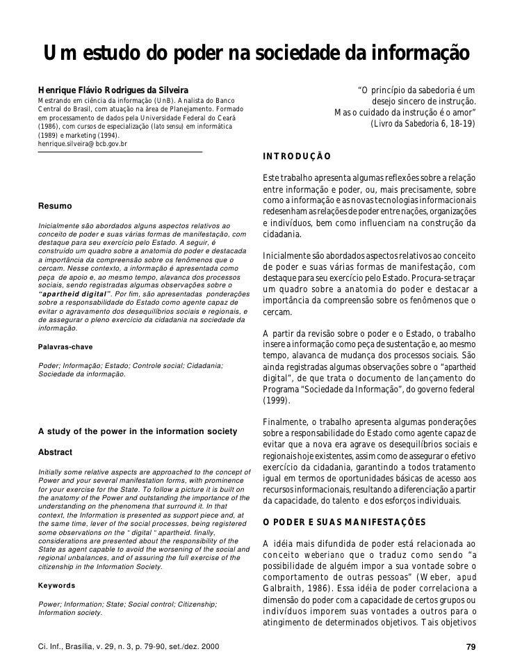 Um estudo do poder na sociedade da informação