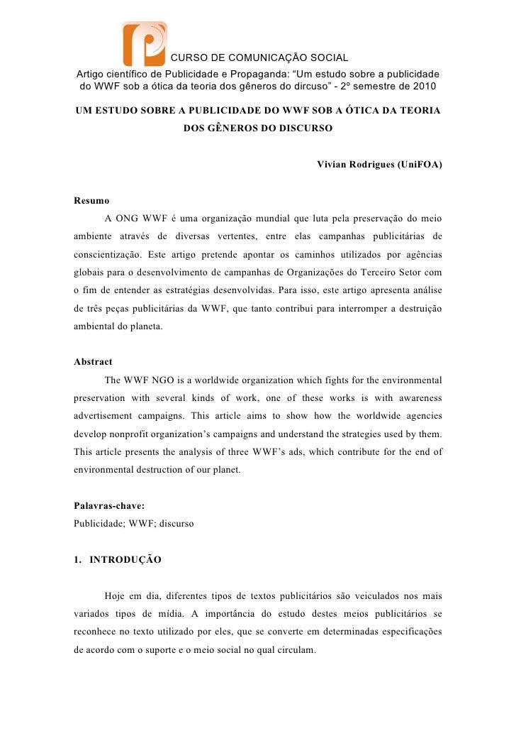"""CURSO DE COMUNICAÇÃO SOCIALArtigo científico de Publicidade e Propaganda: """"Um estudo sobre a publicidadedo WWF sob a ótica..."""