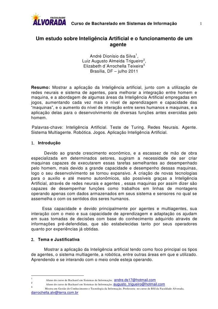 Curso de Bacharelado em Sistemas de Informação                                               1    Um estudo sobre Inteligê...