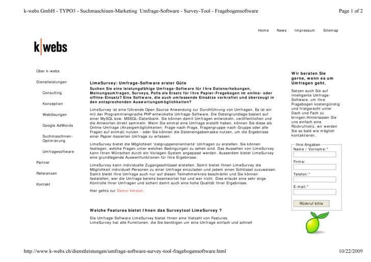 k-webs GmbH - TYPO3 - Suchmaschinen-Marketing Umfrage-Software - Survey-Tool - Fragebogensoftware                         ...