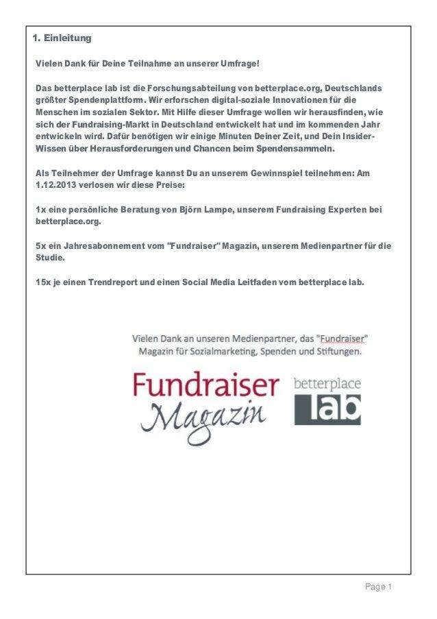 1.Einleitung    Vielen Dank für Deine Teilnahme an unserer Umfrage! Das betterplace lab ist die Forschungsabteilung von ...
