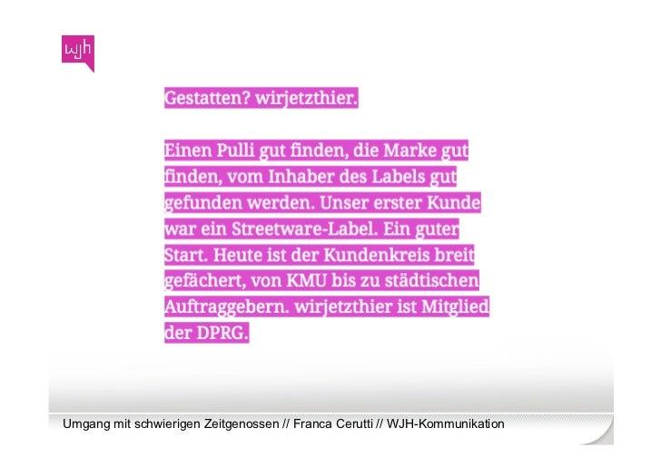Umgang mit schwierigen Zeitgenossen // Franca Cerutti // WJH-Kommunikation
