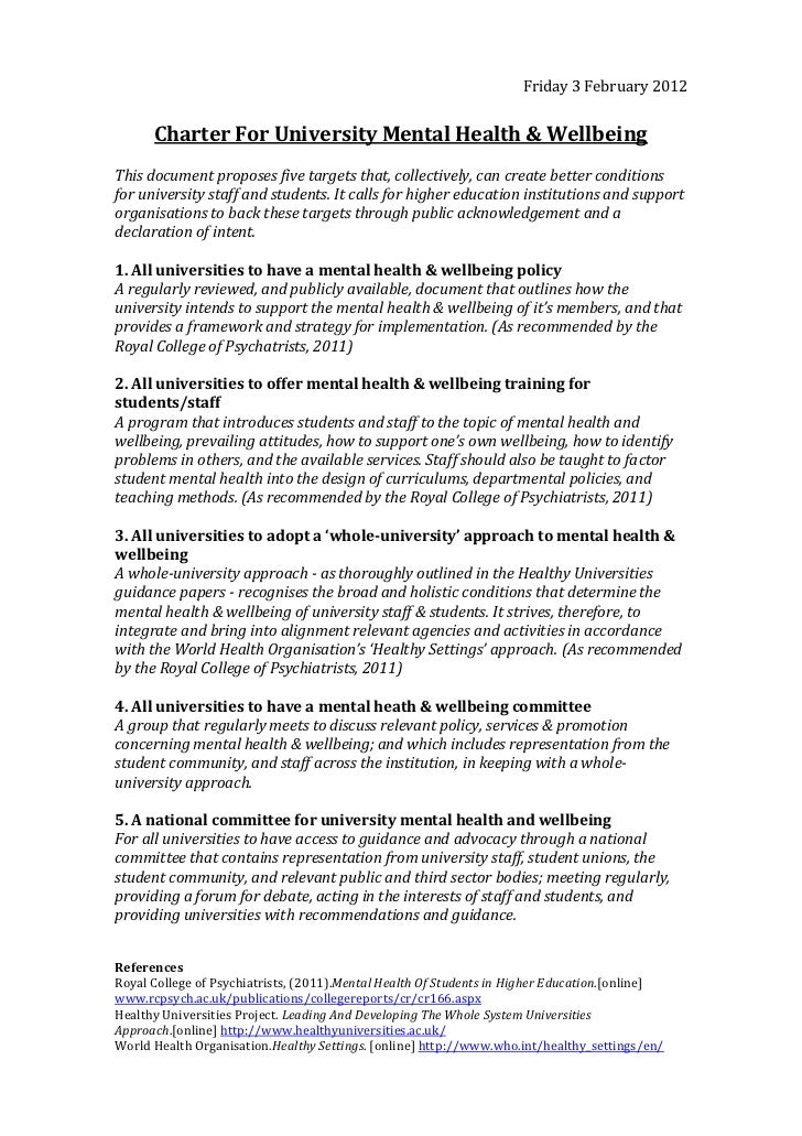 Friday 3 February 2012      Charter For University Mental Health & WellbeingThis document proposes five targets that, coll...