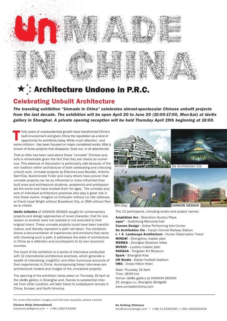 "Celebrating Unbuilt ArchitectureThe traveling exhibition ""Unmade in China"" celebrates almost-spectacular Chinese unbuilt p..."