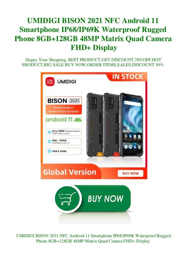 UMIDIGI BISON 2021 NFC Android 11 Smartphone IP68/IP69K Waterproof Rugged Phone 8GB+128GB 48MP Matrix Quad Camera FHD+ Dis...