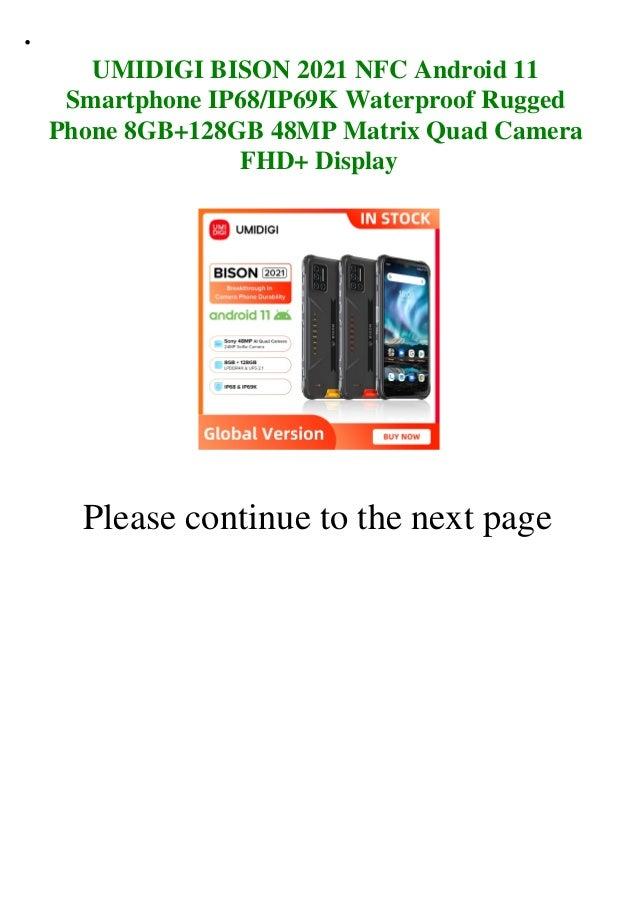 Umidigi bison 2021 nfc android 11 smartphone ip68 ip69k waterproof rugged phone 8gb+128gb 48mp matrix quad camera fhd+ display  Slide 2