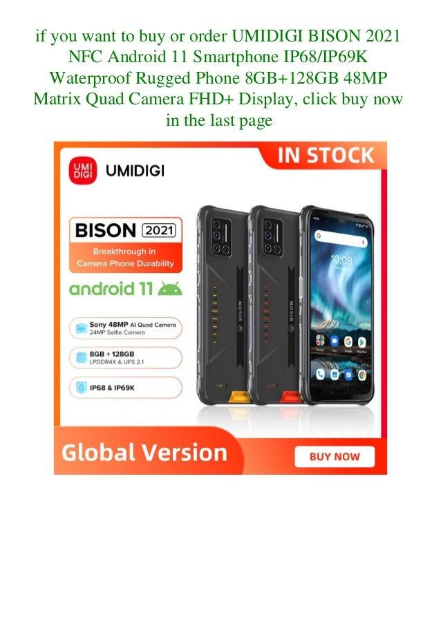 Umidigi bison 2021 nfc android 11 smartphone ip68 ip69k waterproof rugged phone 8gb+128gb 48mp matrix quad camera fhd+ display  Slide 3