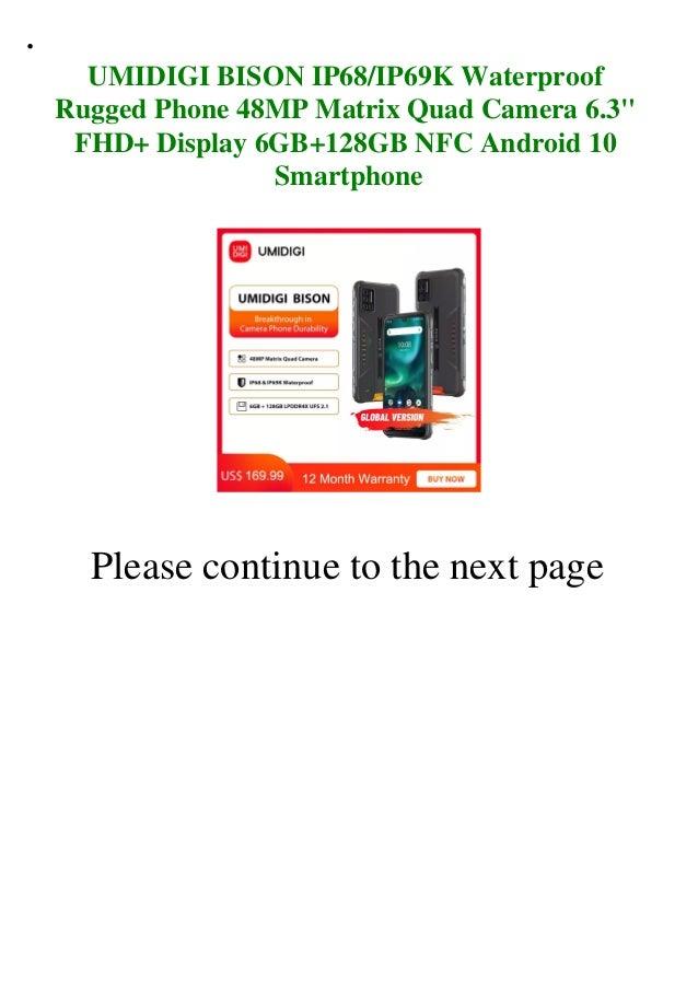 Umidigi bison ip68 ip69k waterproof rugged phone 48mp matrix quad camera 6.3 fhd+ display 6gb+128gb nfc android 10 smartphone  Slide 2