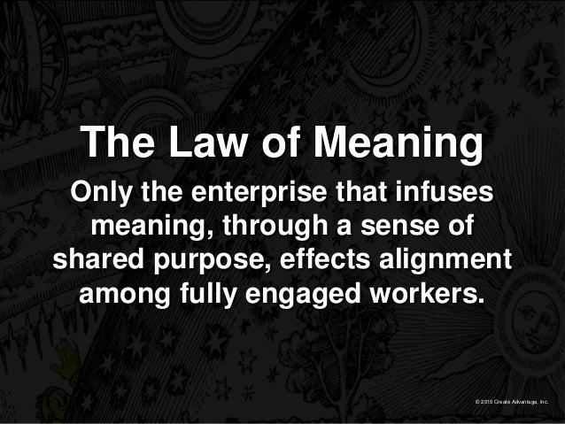 © 2015 Create Advantage, Inc. The Law of Meaning Only the enterprise that infuses meaning, through a sense of shared purpo...