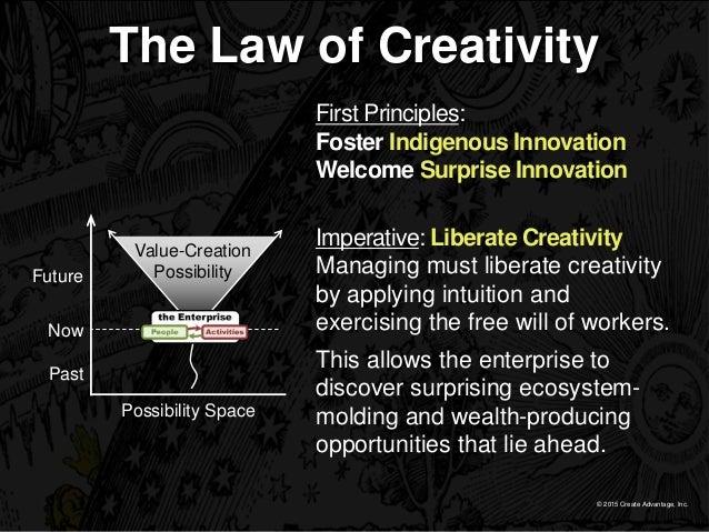 © 2015 Create Advantage, Inc. The Law of Creativity Imperative: Liberate Creativity Managing must liberate creativity by a...
