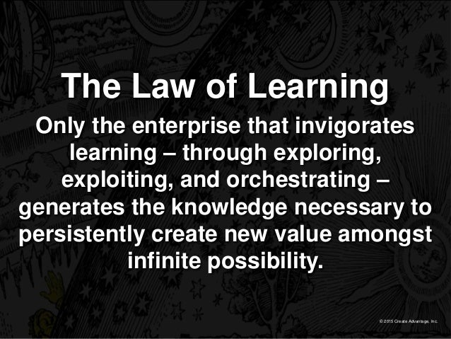 © 2015 Create Advantage, Inc. The Law of Learning Only the enterprise that invigorates learning – through exploring, explo...
