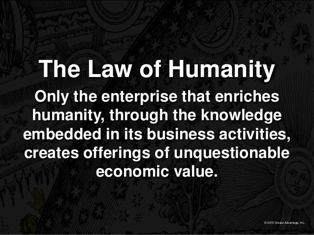 © 2015 Create Advantage, Inc. The Law of Humanity Only the enterprise that enriches humanity, through the knowledge embedd...