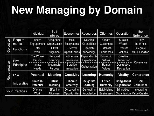 © 2015 Create Advantage, Inc. New Managing by Domain Require- ments First Principles Law Imperative Your Practices Functio...
