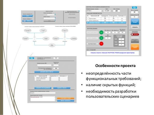 Особенности проекта • неопределённость части функциональных требований; • наличие скрытых функций; • необходимость разрабо...