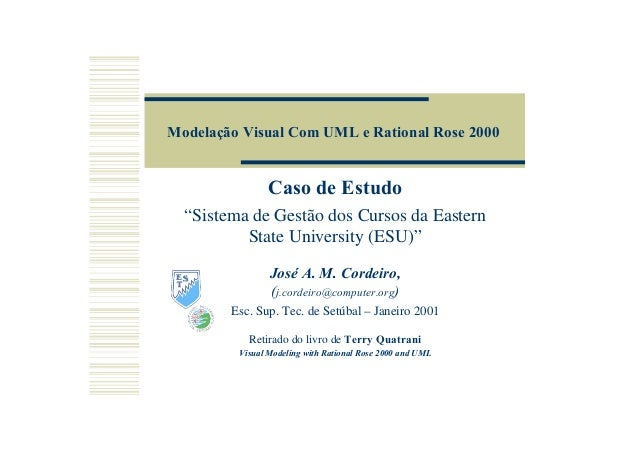 """Modelação Visual Com UML e Rational Rose 2000 Caso de Estudo """"Sistema de Gestão dos Cursos da Eastern State University (ES..."""