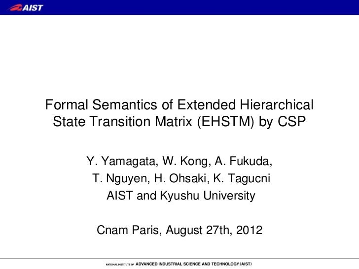 Formal Semantics of Extended Hierarchical State Transition Matrix (EHSTM) by CSP      Y. Yamagata, W. Kong, A. Fukuda,    ...