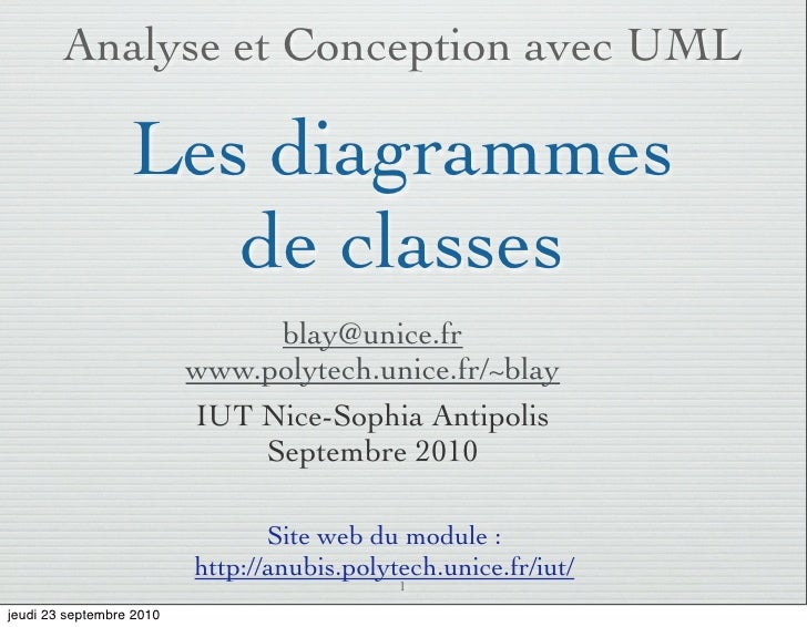 Analyse et Conception avec UML                    Les diagrammes                      de classes                          ...