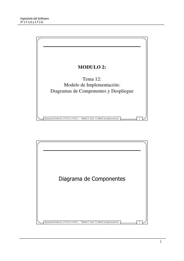 MODULO 2:                        Tema 12:               Modelo de Implementación:         Diagramas de Componentes y Despl...