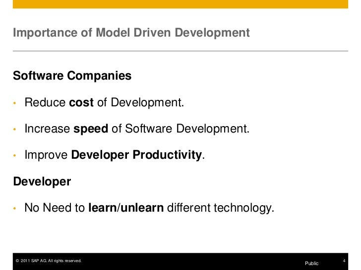 Importance of Model Driven DevelopmentSoftware Companies•   Reduce cost of Development.•   Increase speed of Software Deve...