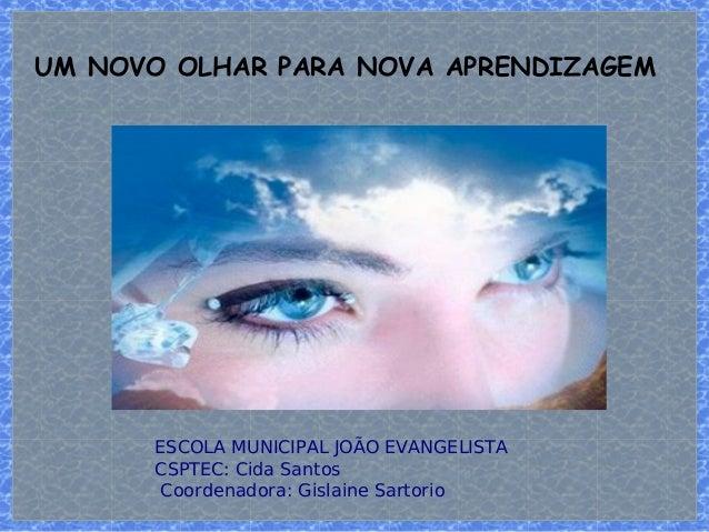 UM NOVO OLHAR PARA NOVA APRENDIZAGEM  ESCOLA MUNICIPAL JOÃO EVANGELISTA  CSPTEC: Cida Santos  Coordenadora: Gislaine Sarto...
