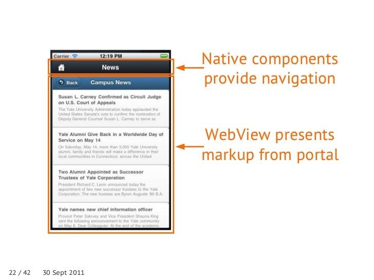 Native components                         provide navigation                         WebView presents                     ...
