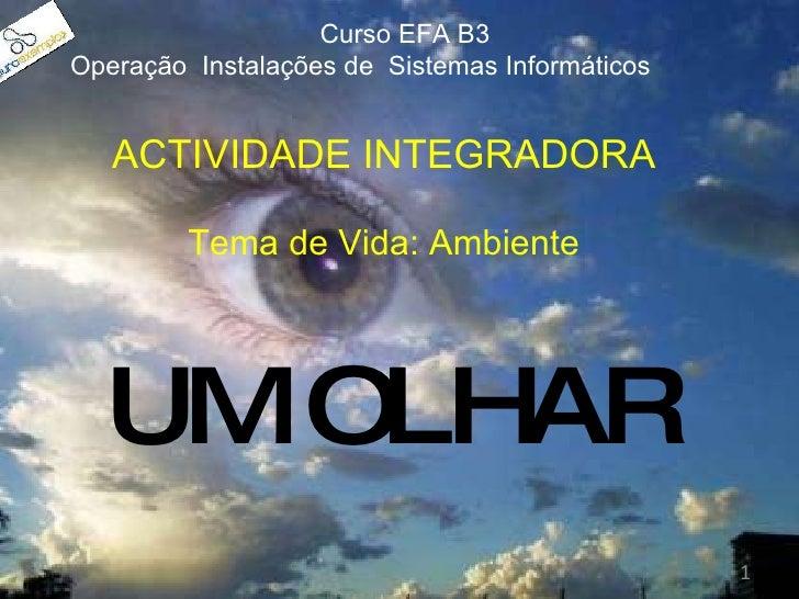 UM OLHAR ACTIVIDADE INTEGRADORA Tema de Vida: Ambiente Curso EFA B3  Operação  Instalações de  Sistemas Informáticos